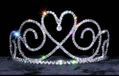 """Tear  drop  Heart  tiara  3.5""""  tall - $31.95 For  more  info  please  contact - Shoot  for  the  Moon  Jewelry  Designs (850) 230-9983 #bridaltiaras #tiaras #valentinesdayweddings #rhinestones"""