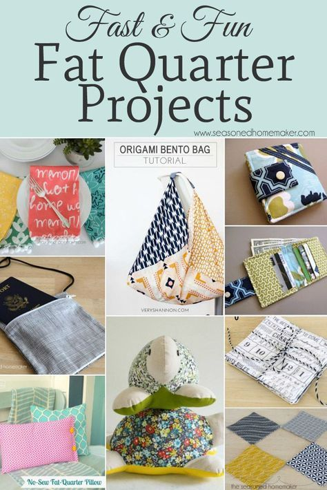 Fat Quarters are ideal for small sewing projects. All you need are a few fat quarters and the ability to sew a straight stitch. Check out these easy DIY Sewing Projects made from fat quarters.