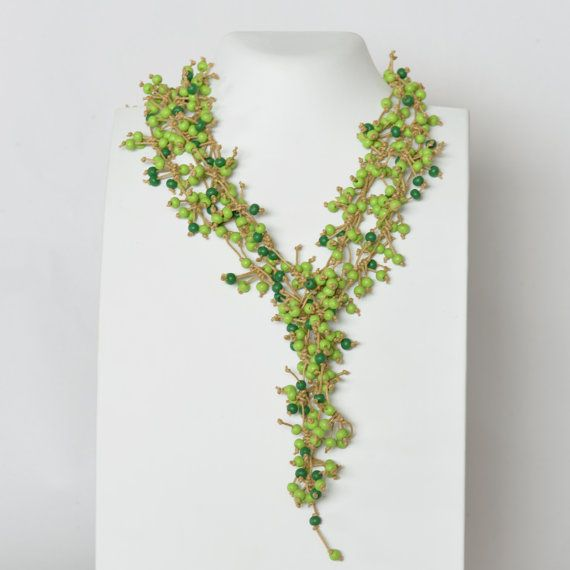 Green Necklace Long Statement Casual Beaded Multi by Cardoucci