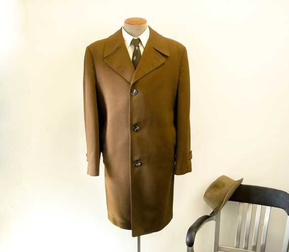 1960s Mens Dress Coat Vintage Brown Textured Double Knit Polyester Mad Men Era Long Winter Coat by Gleneagles Sovereign - Size 42-44 (LARGE)
