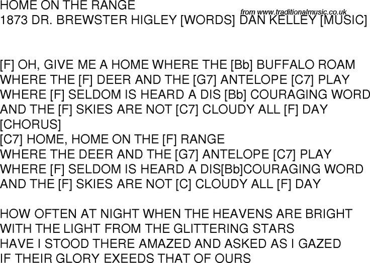 Old time song lyrics with chords for Home On The Range F