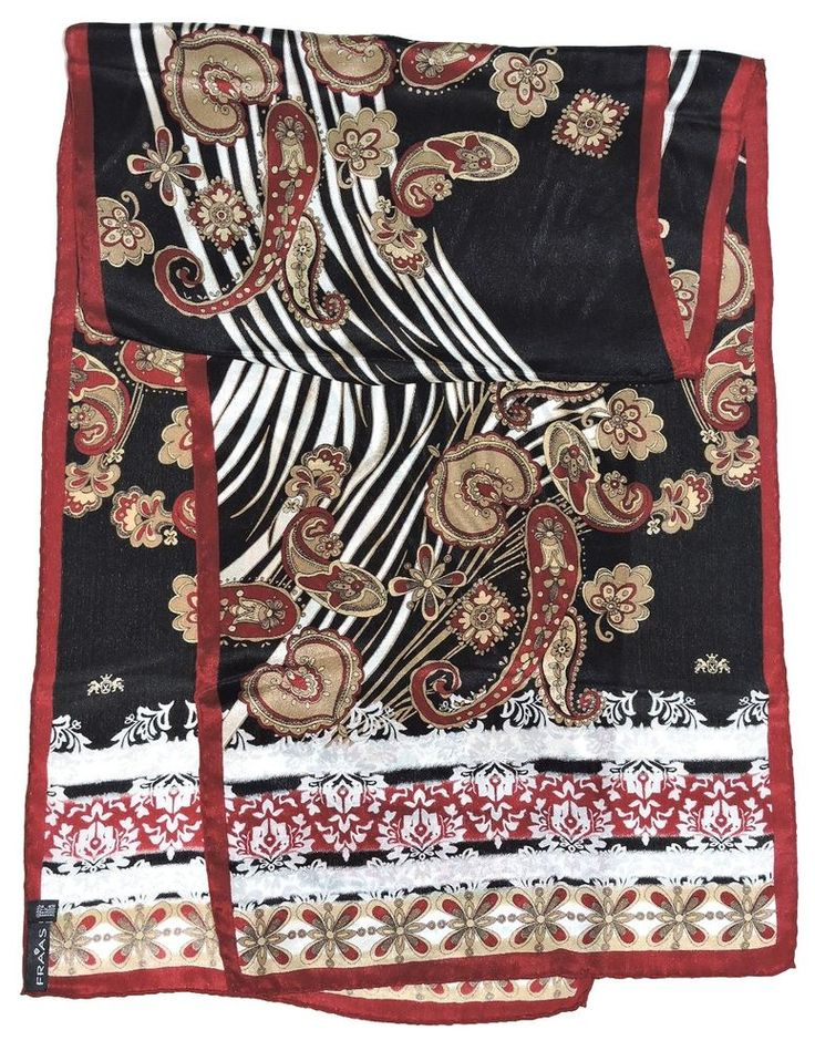 "Fashion FRAAS Burgundy PAISLEY Black Beige Hand Rolled Silk 55"" Long Scarf Shawl #Fraas #Scarf #Casual"