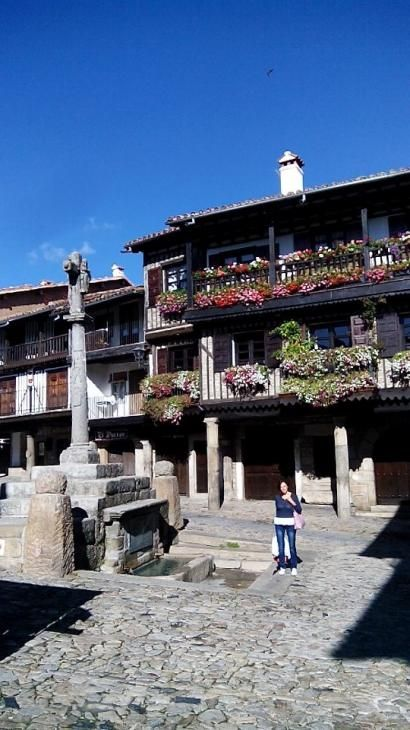 plaza típica  La Alberca  Salamanca Spain