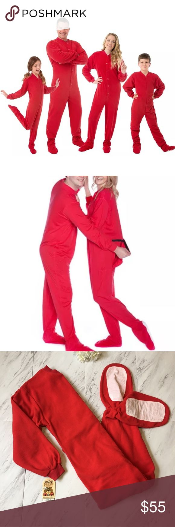 """Christmas Onesie with Drop Seat - Big Feet New with tags!  Features:  🔹Button up front, no skid soles 🔹Drop seat / velcro butt flap 🔹100% cotton fabric  🔹Small will fit up to 5'6"""" and 150 lbs.   As seen on A&E's Gene Simmons Family Jewels and worn by Natalie Portman in """"No Strings Attached!""""  💗💗Thank you for visiting my closet at Freelancemoda! Please check out my other items for more great deals! 💗💗 Big Feet Pajama Co. Intimates & Sleepwear Pajamas"""