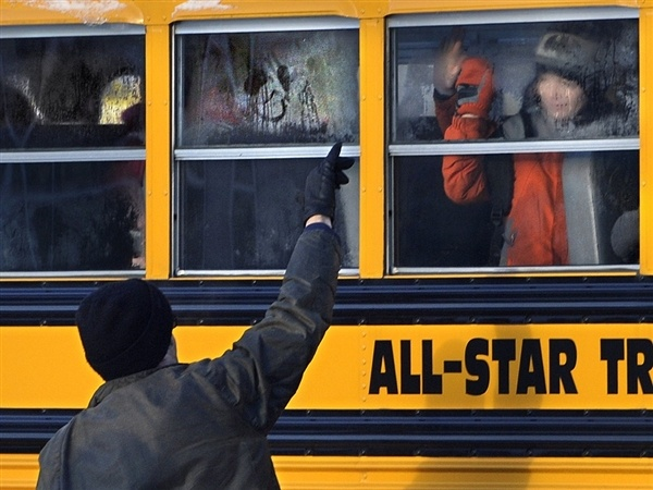 For the first time since the shooting in December, Sandy Hook Elementary School students went back to school at a new building. (via NBC News; photo via AP)