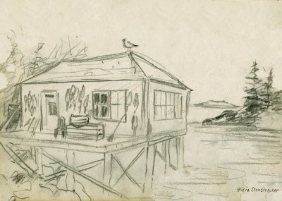 Lobster Shack and Seagull, Pencil sketch by artist, Alicia J. Stonebreaker 9x12 giclee print $29 ...