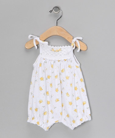 Take a look at this White Chick Crocheted Bubble Romper - Infant by Victoria Kids on #zulily today!