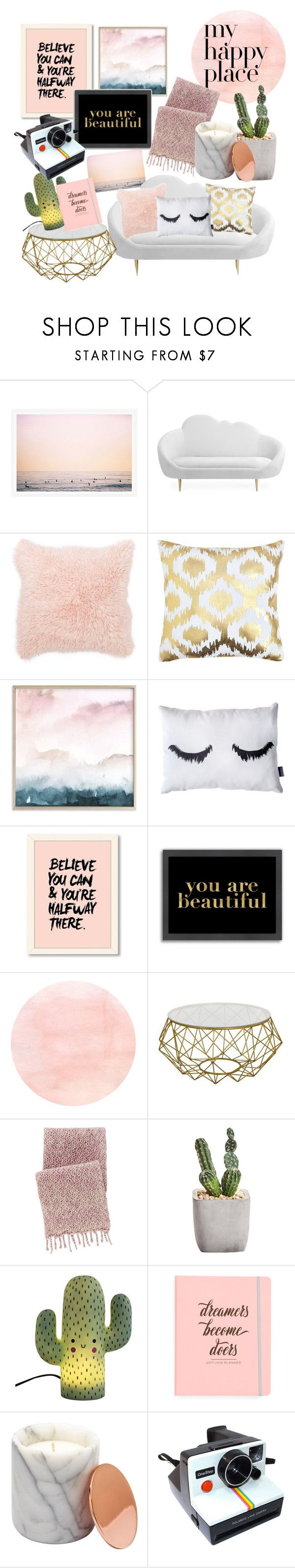 """My Happy Place🌸"" by elena-flip ❤ liked on Polyvore featuring interior, interiors, interior design, home, home decor, interior decorating, Nordstrom Rack, Americanflat, Pine Cone Hill and Polaroid"