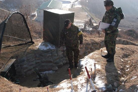 Inspecting a mortar site as part of NZ's efforts monitoring the Nth/Sth Korea Armistice Agreement