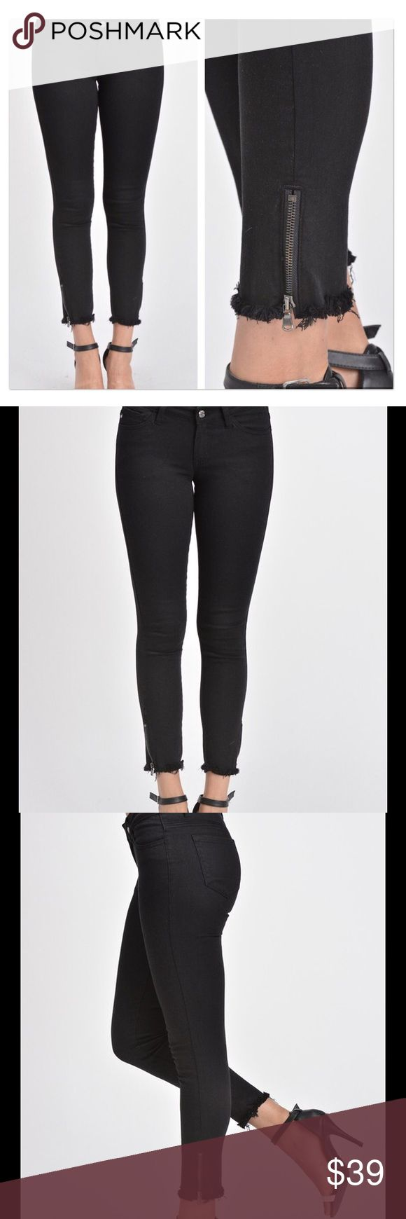 """Black Skinny Jeans Frayed Hem and Ankle Zipper Cute black Skinnies with frayed bottom hem and ankle zipper. These offer lots of stretch. If you go with your normal size it will have sort of a girlfriend fit, size down one size for a more fitted look. Please check measurements, though. I'm only offering a suggestion with sizing! Inseam:26.5"""" 💎Measurements of Waists UnStretched: 💎1/24:25"""" 💎3/25:26"""" 💎5/26:27"""" 💎7/27:28"""" 🛍Bundle 2+ items for discount! Jeans Skinny"""