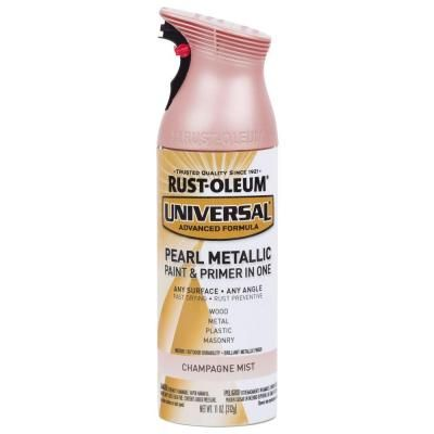 Rust-Oleum Universal 11 oz. Pearl Champagne Pink Spray Paint and Primer in One-301537 - The Home Depot
