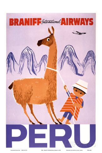 Peru - Braniff International Airways - Native Boy with Llama - Posters på AllPosters.se