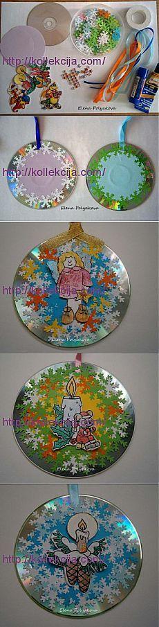 Мастер-класс «Новогодняя открытка-шар из CD дисков». Автор Елена Полякова.   Своими руками