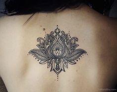 Unique Black Lotus Flower Tattoo On Girl Upper Back By Caro Voodoo