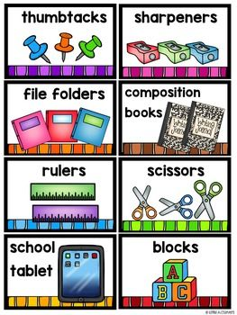 Classroom Labels - School Supply and Schedule Cards