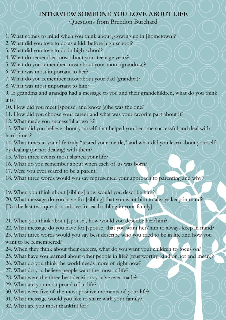 Brendan Burchard Recently Posted These Interview Questions. Can Be Used As  A Memory Item To Help Create Video Or Audio Of An Ill Loved One To Help  Preserve ...