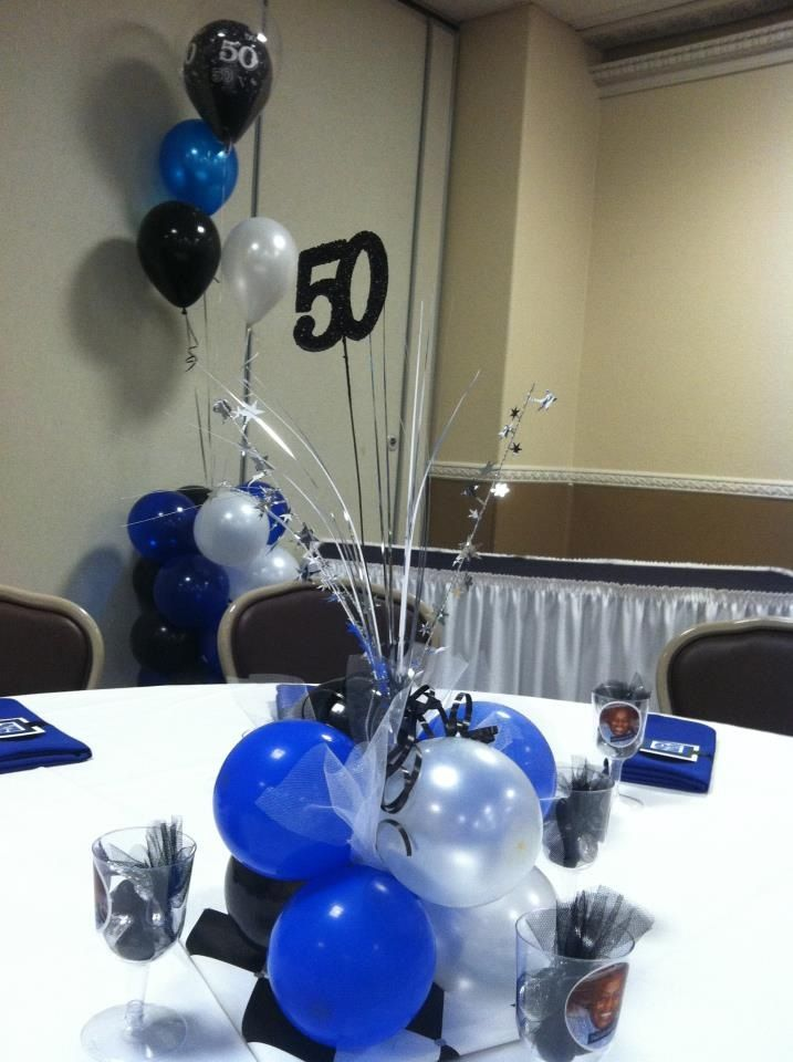 Balloon table centerpiece dad s th birthday
