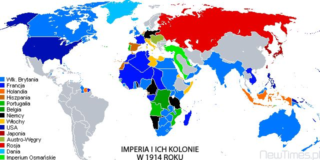 Empires and Colonies in 1914 - before World War One