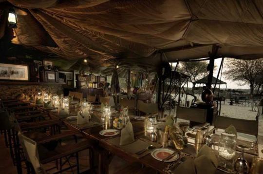 Dining area at Meno a Kwena Camp  (Makgadikgadi Pans, Botswana). Looks like a place you wanna go? Just let us know: info@gondwanatoursandsafaris.com