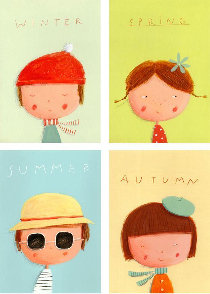 Ekaterina Trukhan Illustration- Cuatro estaciones - invierno primavera verano otoño