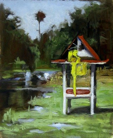 Abandoned Pagoda, Thailand  A small oil painting done on location (en plein air) in Thailand