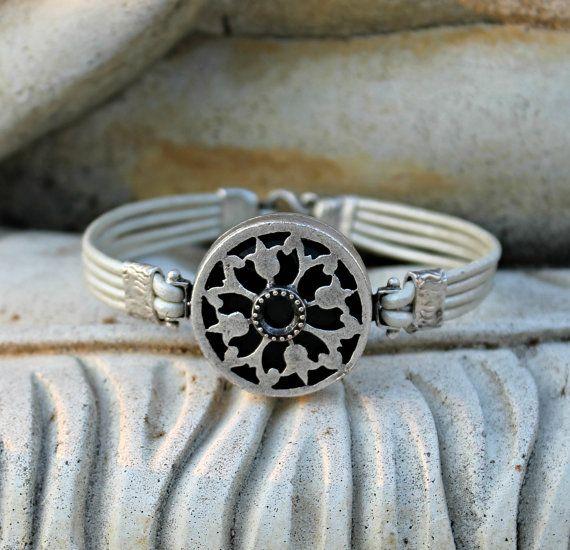 Bohemian Leather Bracelet Silver Pearl Black by LunarBelle on Etsy