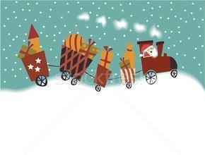 Stock fotó: Rajz · karácsony · vonat · mikulás · ajándékok · kék