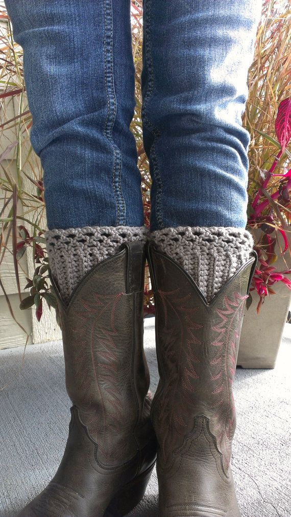 Stormy Grey Crochet Boot Cuffs Cowboy Boot Cuff by HoneysGoods, $20.00