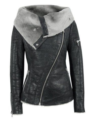 Stylish Turn-Down Collar Long Sleeve Zippered Women's Leather Black Jacket Jackets | RoseGal.com Mobile