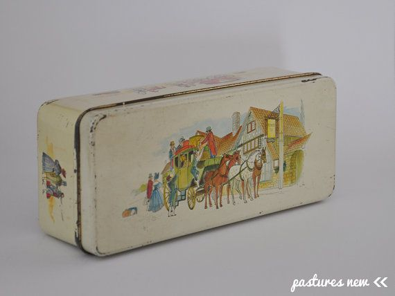Dutch vintage tin; canister; Pickwick tea; illustrations travelling people