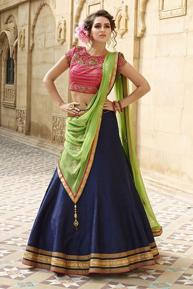 Class, style and sophistication, let this beautiful lehenga do all the talking for you! http://www.aishwaryadesignstudio.com/gorgeous-pink-and-blue-lehenga-choli