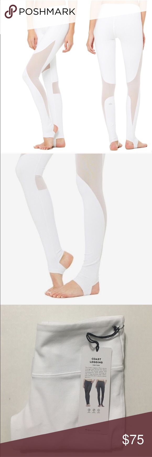 "ALO Yoga Coast Leggings XS Yogi toes. The Coast Legging offers secure coverage with stirrup foot detail, smooth seams and contemporary mesh blocking at side of leg and knee area. Twists and inversions don't stand a chance against it.  Retails for $94. Color: white Condition: BNWT  I would say these run a little small, they're a little snug on me and I am normally an XS in ALO. I'm 5'2"", 110 lbs, 25 waist. ALO Yoga Pants Leggings"