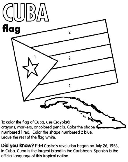 Cuba coloring page --- end of class handout for Cuba class