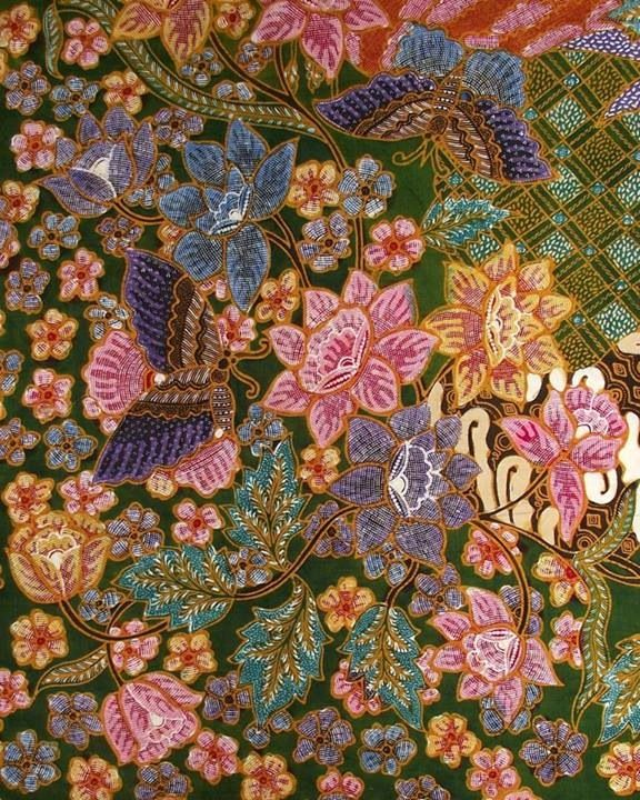 Djawa Baroe (New Java) Batik. Colorfull and lovely so much. Handrawn processing for illustration and coloring, took more than 4 months to make it. Indonesian Batik.