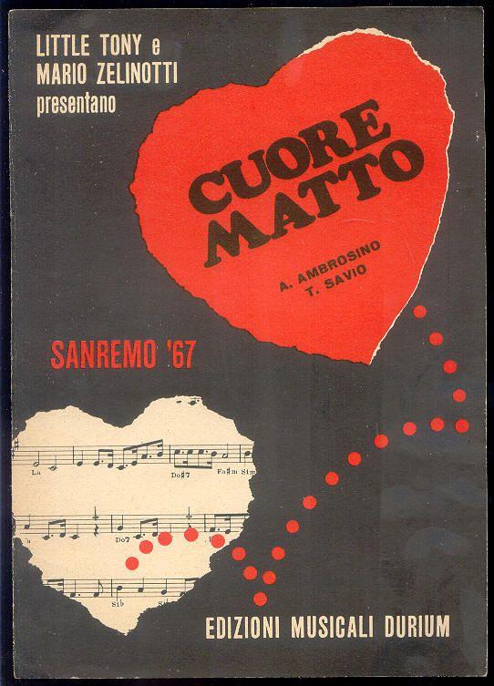 """Little Tony + Mario Zelinotti """"Cuore Matto"""", spartito, Sanremo Festival 1967"""