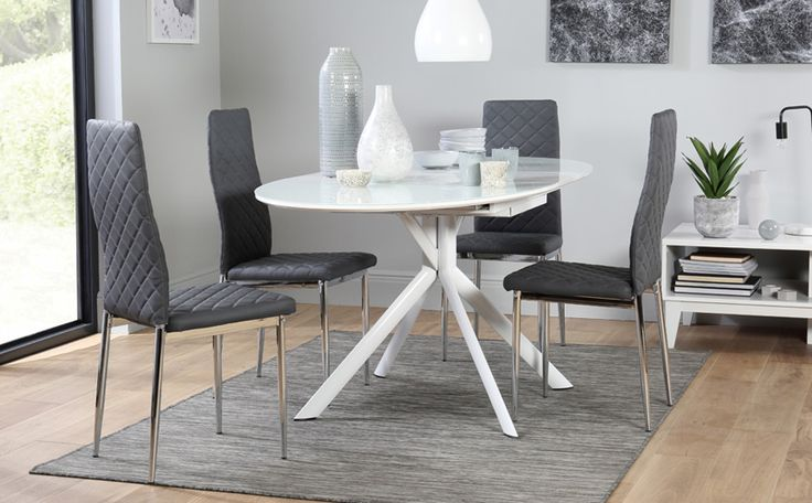 Blake Oval White High Gloss And Glass Extending Dining Table