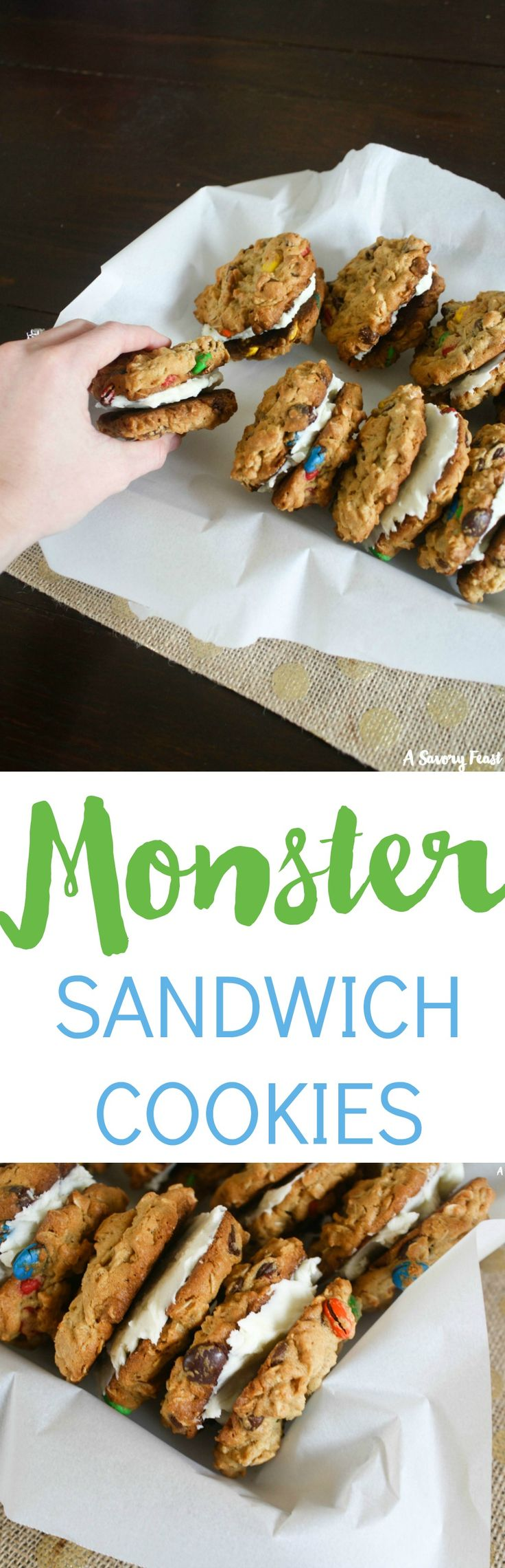 These HUGE Monster Sandwich Cookies are over-the-top good! Monster Cookies are a favorite because of how they are packed with all sorts of yummy ingredients: chocolate chips, M&M's, oats and more. This sandwich takes them to the next level by adding a sweet icing in between two cookies.