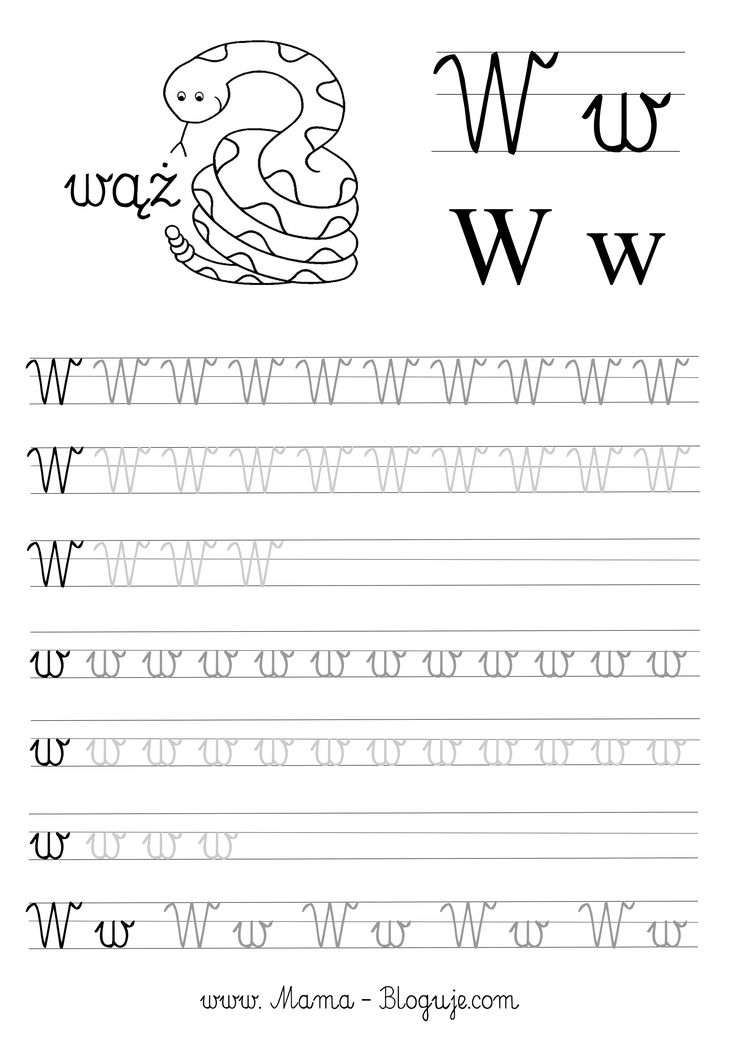 Literka W język polski nauka pisania literek