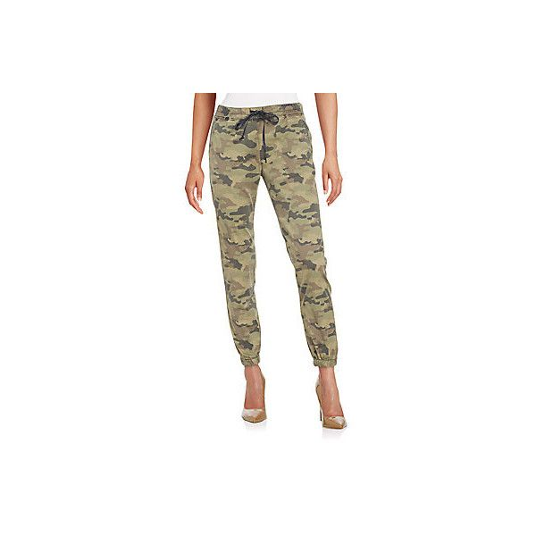 Hudson Addison Camo Jogger Pants ($90) ❤ liked on Polyvore featuring pants, capris, solimar, cropped jogging pants, camo print pants, camo jogger pants, jogger pants and brown pants