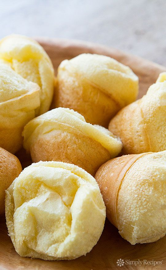 Easy Brazilian Cheese Bread ~ Simple and gluten-free Brazilian cheese bread, or Pão de Queijo, made with tapioca flour, milk, eggs, olive oil, and cheese. ~ SimplyRecipes.com