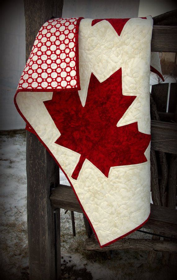 Canadian flag, national pride quilt by HouseofdeVeer.