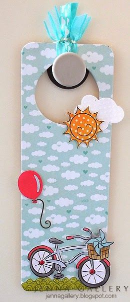 Lawn Fawn - Cruising Through Life, Sunny Skies, Belinda's Borders, Cloudy Lawn Trimmings _  sunny sweet door hanger by Jenna at Jenna Gallery