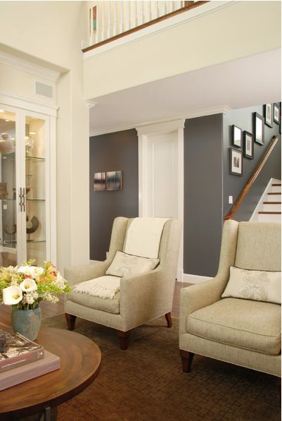 I love grey...but too dark in a room with little light?  Sherwin Williams-Mink - living room paint color