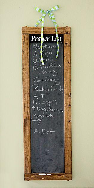 Prayer chalkboard...love this for the house!House Ideas, Cute Ideas, Catholic Decor, Projects Ideas, Prayer Boards, Prayer Chalkboards Lov, Catholic House Decorating, Catholic Home Decor, Prayer Room Ideas