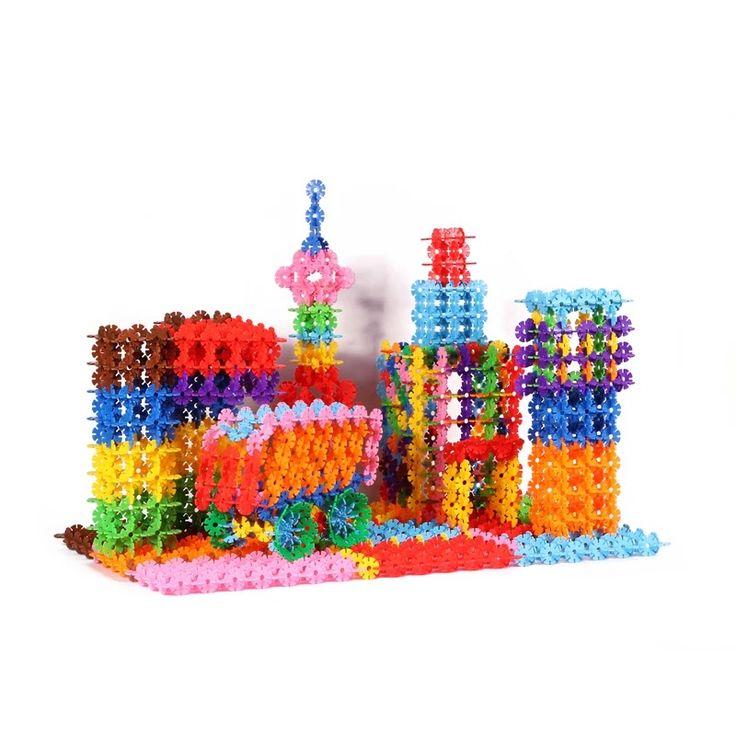 100 pcs Salju Snowflake Blok Bangunan Batu Bata Mainan DIY Perakitan Mainan Klasik Pendidikan Awal Belajar Mainan Untuk Anak Anak