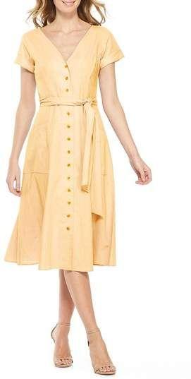 47174226a0d2 Gal Meets Glam Collection Vanessa Button Front Linen Blend Dress ...