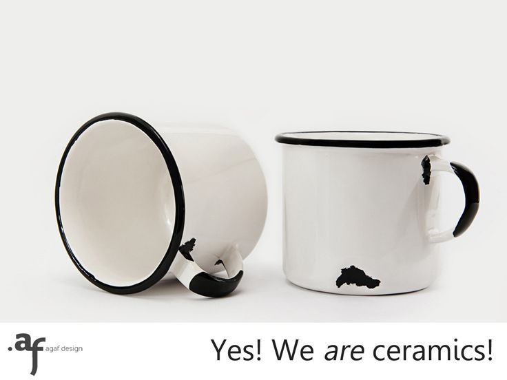 2 x The Not Enamel Handmade Ceramic Mug White by AgafDesign