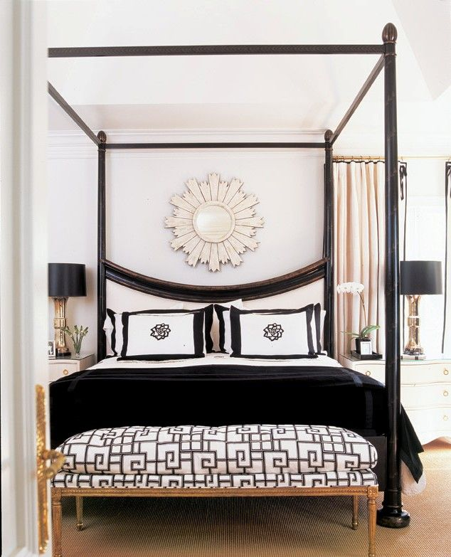 SUZANNE KASLER | Mark D. Sikes: Inspiration for a teen girls bedroom - could make this a little fresher with less gilt and more laquered white and pale pink to offset the black...
