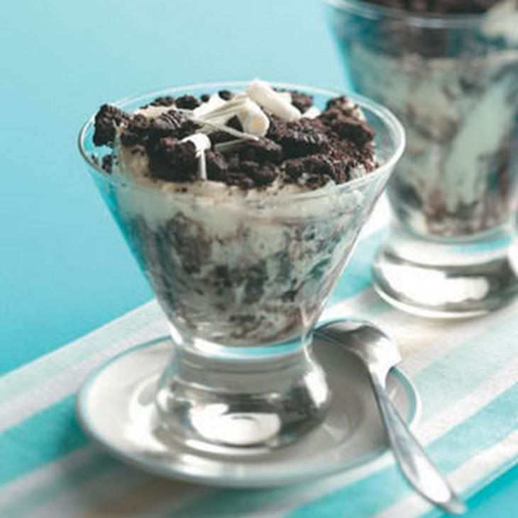 Dirt Dessert Recipe Desserts with cream cheese, soften, butter, confectioners sugar, 2% reduced-fat milk, vanilla instant pudding, frozen whip topping, thaw, OREO® Cookies, white chocolate