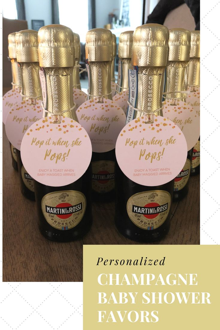 Personalized Champagne Baby Shower Favors for a GIRL  #babyshowerideas #babyshowerfavors #girlbabyshower